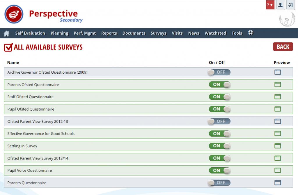 Perspective Surveys: Template List