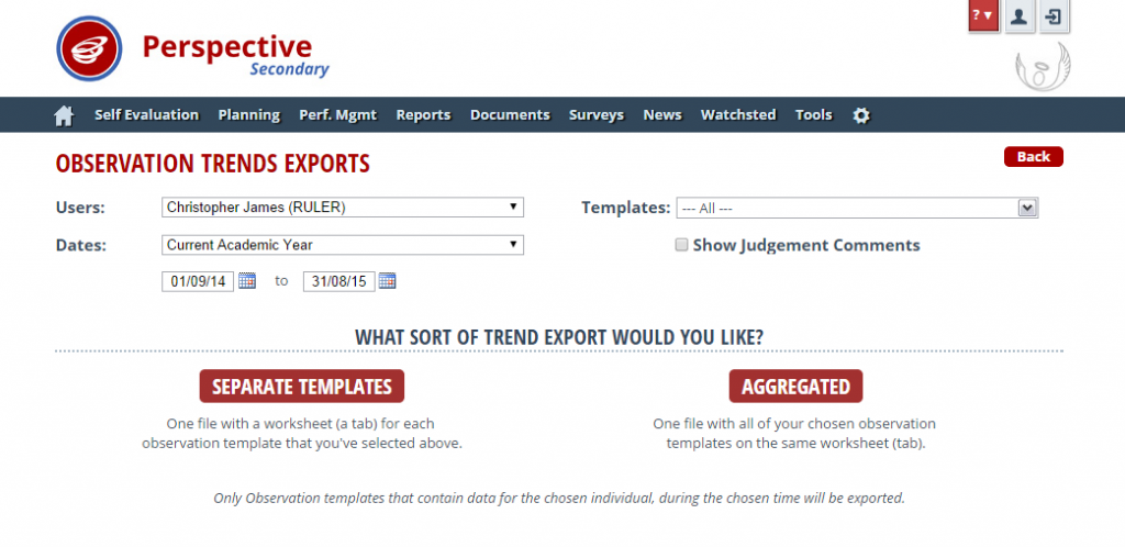 Perspective: Observation Trend export options