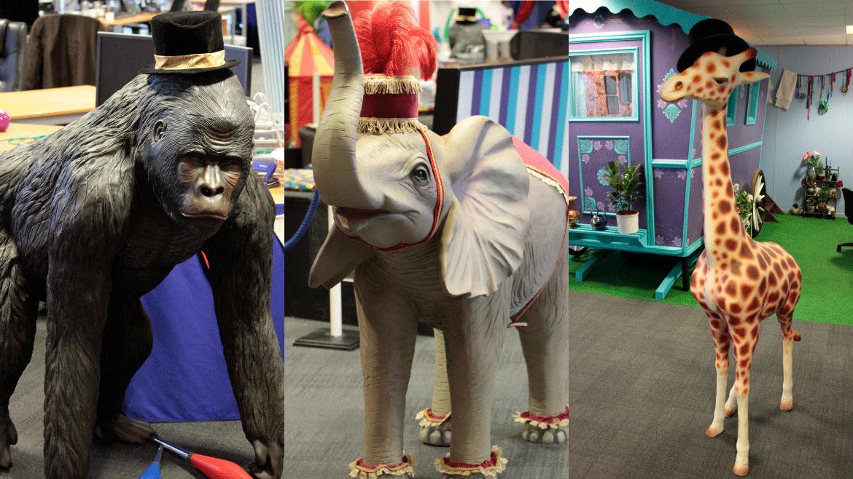 Our gorilla, elephant and giraffe