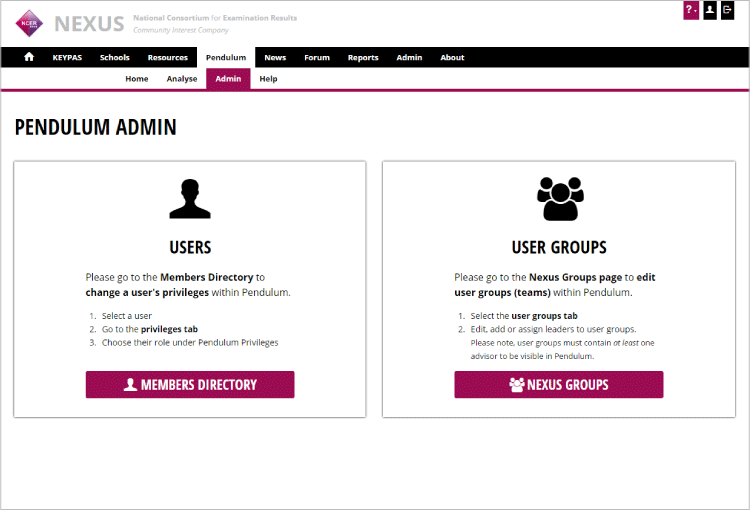 Brand new Pendulum Admin page to help you edit user privileges and user groups