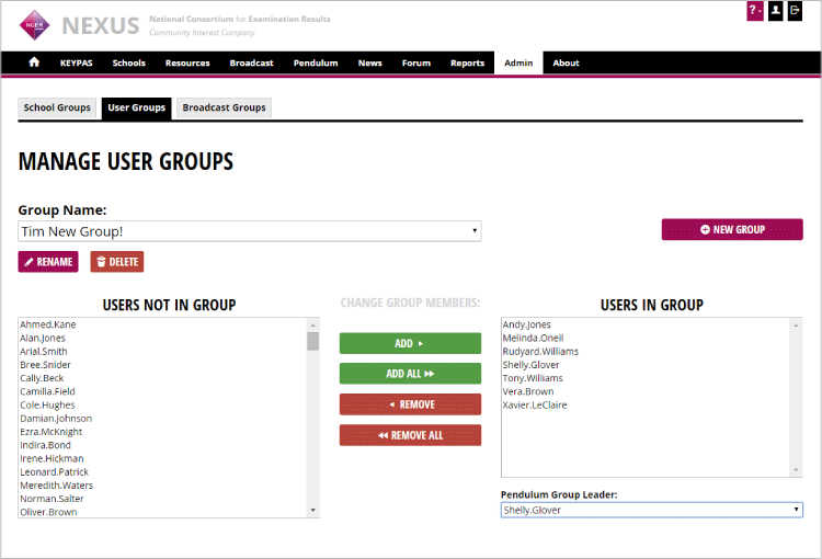 User Groups and User Group Leaders can be edited from the admin area