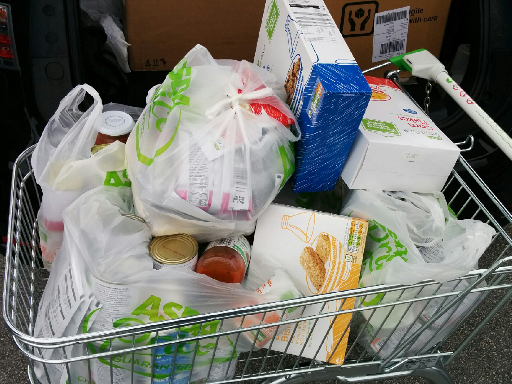 A trolley-load of food donated by Angel Solutions
