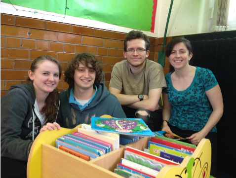 Team Angel in the reading corner at the end of the day