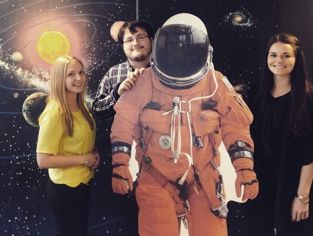 3 university interns... and our cardboard astronaught