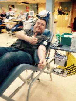 Gareth giving blood (again)