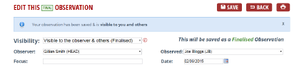 Change the visibility field and click Save to change the status of an Observation between draft and finalised