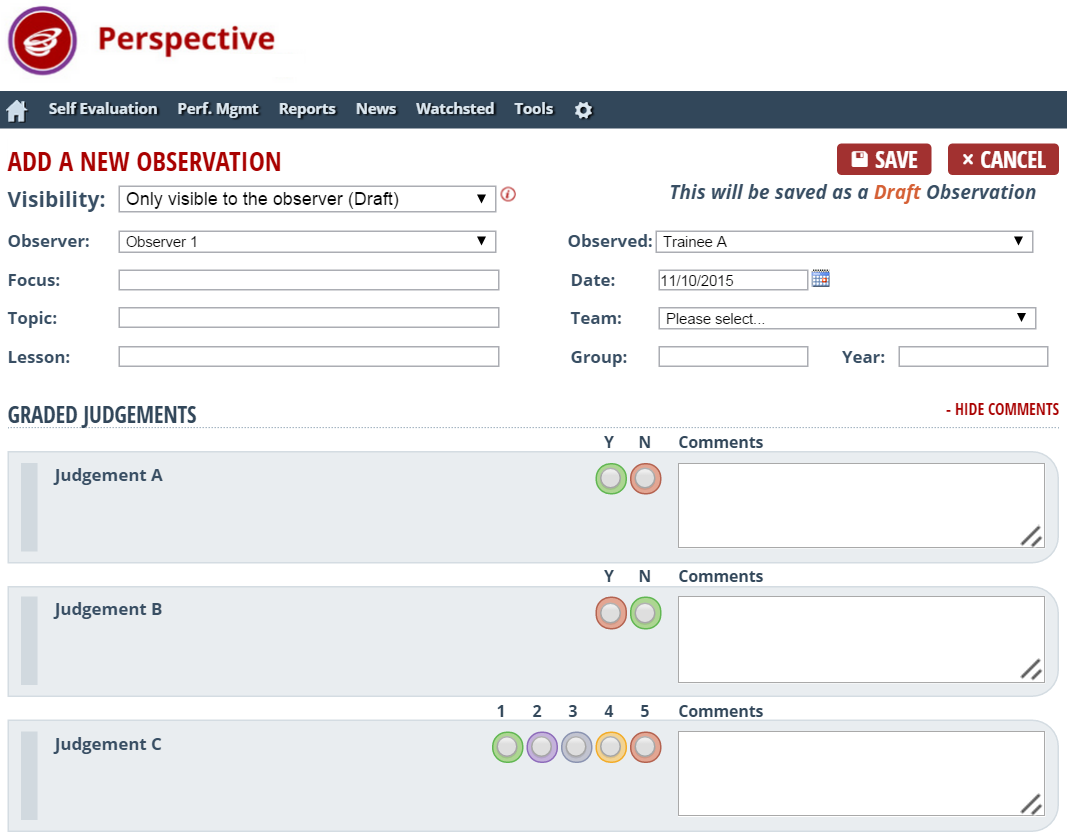 Lesson observation form for trainee teachers