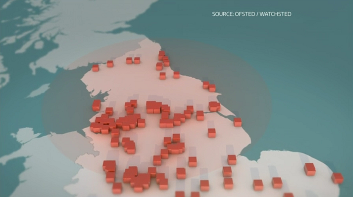 ITV News map of school performance, sourced by Ofsted and Watchsted