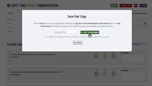 Save and Copy observation records to another person