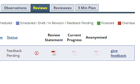 Step 1 - Once logged in to Perspective, click on the Reviews tab and then 'Give Feedback'