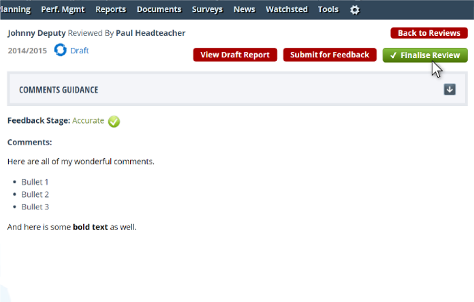 Step 3 - You can now click Finalise Review or update and Sumbit for Feedback again