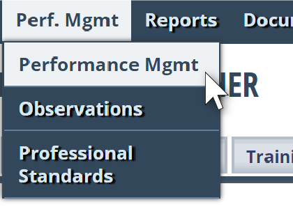 Step 1 - Click on Performance Management