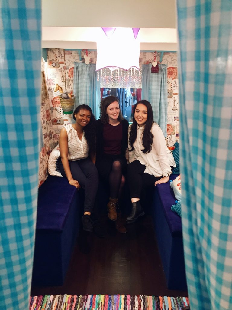 Malachisa Smalling, Jenny McNally and Kiera Reilly in our gypsy caravan