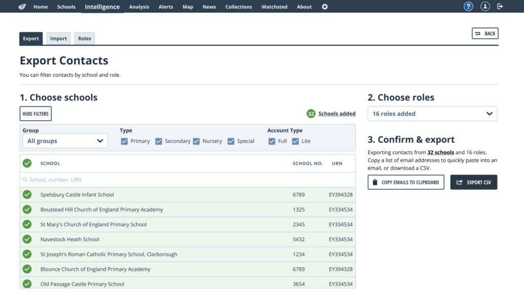 Export contacts screenshot
